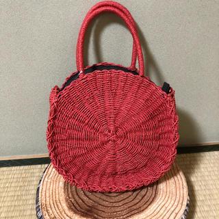 シマムラ(しまむら)の新品○しまむら かごバッグ 赤 レッド サークルバッグ  カゴバッグ インスタ(かごバッグ/ストローバッグ)