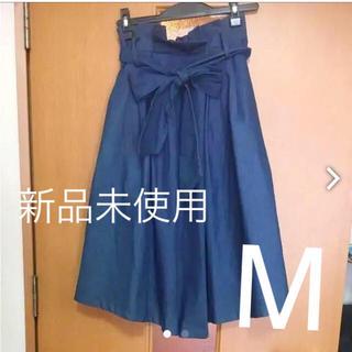 バイバイ(ByeBye)の新品ウエストリボンスカート デニム新品(ひざ丈スカート)