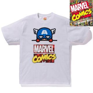 アベイシングエイプ(A BATHING APE)のXL BAPE x MARVEL COMICS CAPTAIN AMERICA (Tシャツ/カットソー(半袖/袖なし))