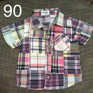 ニシマツヤ(西松屋)の90 チェック柄 半袖ボタンダウンシャツ 送料込み(ブラウス)