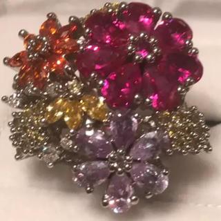 新品未使用 9号 フラワーリング カラーストーン 合成宝石(リング(指輪))