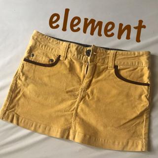 エレメント(ELEMENT)のエレメント element ミニスカ 薄手コーデュロイ イエロー系 サイズ25(ミニスカート)
