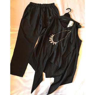 ◆セレモニー二次会パーティー女子会◆黒パンツドレス◆L、ネックレス付(その他ドレス)