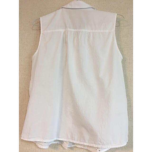 コットンノースリーブ 白 レディースのトップス(カットソー(半袖/袖なし))の商品写真