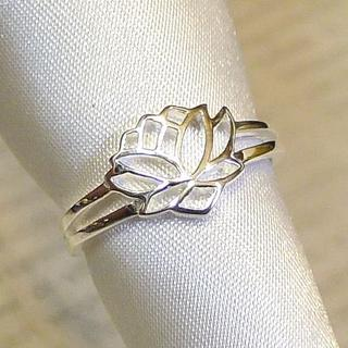 SR1596  指輪シルバー925刻リング 16号 蓮の花 はす ロータスフラワ(リング(指輪))