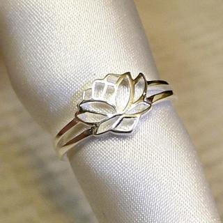 SR1597 指輪シルバー925刻リング 16号 蓮の花 はす ロータスフラワー(リング(指輪))