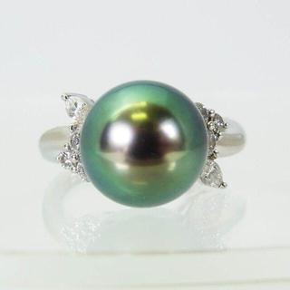PT900 南洋黒蝶真珠ダイヤ リング 16号 (リング(指輪))