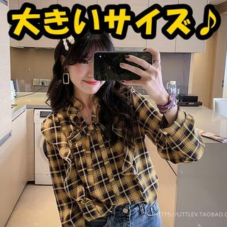 大きいサイズ フリルチェックシャツ(シャツ/ブラウス(長袖/七分))