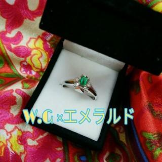 エメラルドとダイヤモンドのレトロモダンな指輪(リング(指輪))