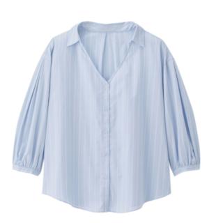 ジーユー(GU)のGU ストライプパフスリーブシャツ(7分袖)(Tシャツ(長袖/七分))