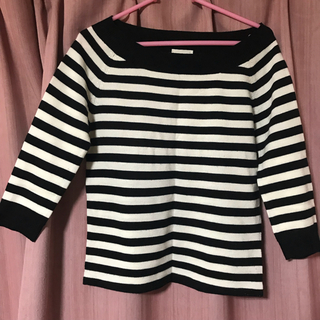 ジーユー(GU)のGU 七分袖 白黒ボーダー(Tシャツ(長袖/七分))