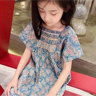 上質な 刺繍 花柄 スモッキングワンピース 120 130 (ワンピース)