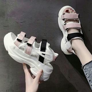 新作韓国ファッション  厚底 マジックテープ  サンダル ピンク(サンダル)