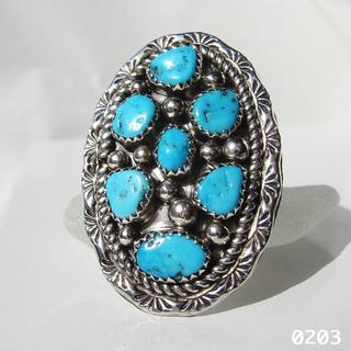 リング ターコイズ シルバー インディアンジュエリー 7個ナゲット スタンプ純銀(リング(指輪))