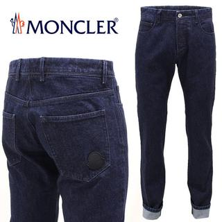 モンクレール(MONCLER)の【1】MONCLER『希少 レア』インディゴ ロゴワッペン デニム 52(デニム/ジーンズ)