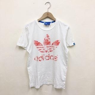 アディダス(adidas)の【良好】【レア 三つ葉】adidas  ビッグロゴプリントTシャツ アディダスM(Tシャツ/カットソー(半袖/袖なし))