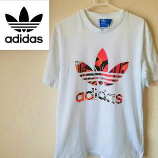 アディダス(adidas)のアディダス adidas Tシャツ デカロゴ トレフォイル フラワー 90s  (Tシャツ/カットソー(半袖/袖なし))