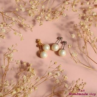 リッチクリームの小さめピアス8mm ★ コットンパール ❤ シンプル(ピアス)