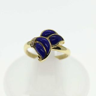 ラピスラズリ ダイヤモンド リング 指輪 k18yg 18金 イエローゴールド (リング(指輪))