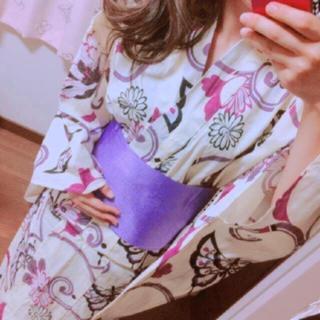 浴衣セット★人と被らない★パープル★パステルイエローバタフライ柄カラー黄色紫 (浴衣)
