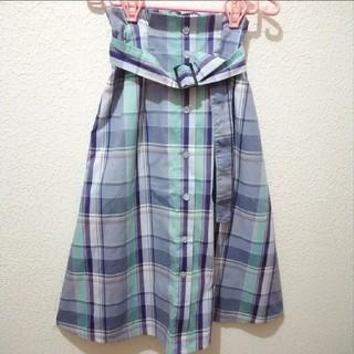 シマムラ(しまむら)の新品 しまむら ベルト付き 前ボタン チェック ロングスカート♥️L GU(ロングスカート)