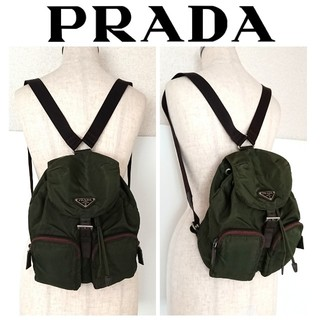 8a0d25c97e33 プラダ(PRADA)の正規 プラダ リュック バッグ ナイロン レザー カーキ 緑 レディース メンズ(