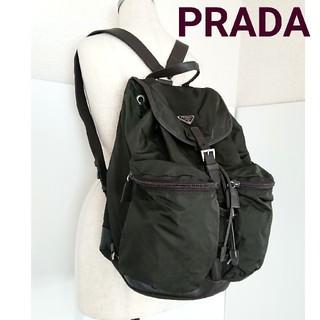 8891e9433363 プラダ(PRADA)の正規 プラダ 大きめ リュック バッグ ナイロン 革 カーキ レディース メンズ(