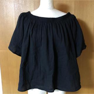 ジーユー(GU)の新品未着用 GU コットン トップス Lサイズ ブラック(シャツ/ブラウス(半袖/袖なし))