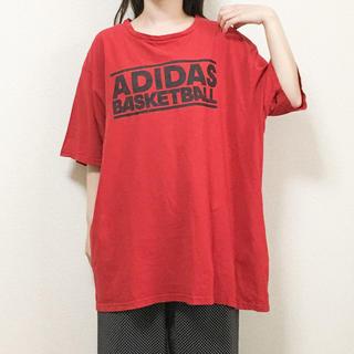 アディダス(adidas)の[used]赤adidasプリントビッグTシャツ(Tシャツ(半袖/袖なし))