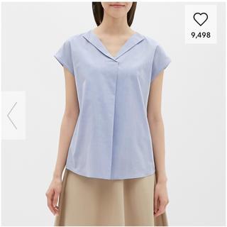 ジーユー(GU)の【新品未使用】GU オープンネックシャツ(半袖)LR ライトブルー (シャツ/ブラウス(半袖/袖なし))