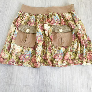 アッシュペーフランス(H.P.FRANCE)の華やか☆花柄パールポケットスカート(ミニスカート)