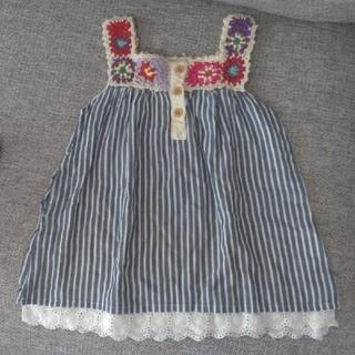 刺繍柄チュニックワンピース サイズ90 80(ワンピース)