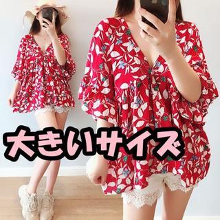 大きいサイズ  花柄深Vネックシャツ(シャツ/ブラウス(半袖/袖なし))