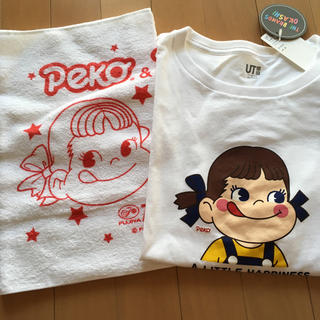 63514adabce4e フジヤ(不二家)のペコちゃん Tシャツ 非売品タオル(キャラクターグッズ)