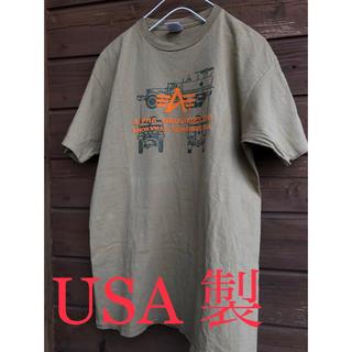 アルファ(alpha)のUSA製 alpha tシャツ ビッグt アーミー ビッグシルエット(Tシャツ/カットソー(半袖/袖なし))