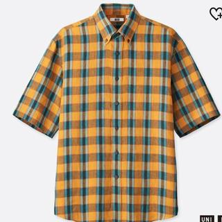 ユニクロ(UNIQLO)の【新品未使用】プレミアムリネンワイドフィットチェックシャツ(半袖)XSサイズ(シャツ)