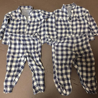 ムジルシリョウヒン(MUJI (無印良品))の専用出品 無印良品 パジャマ 90 長袖 チェック ダブルガーゼ 春夏用(パジャマ)