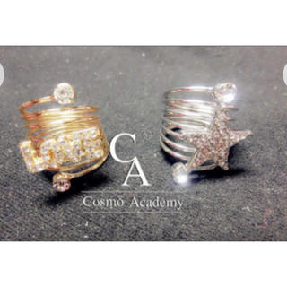 指輪2本セット 銀の星+金のLOVE スプリング指輪 プレゼントに最高 (リング(指輪))