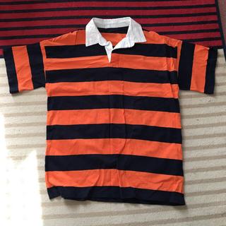 スピンズ(SPINNS)のラガーシャツ (紺&オレンジ)(ポロシャツ)