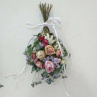 ベリンディさん専用ユーカリとピンク薔薇のパープル、ユーカリとピンク薔薇のスワッグ(ドライフラワー)