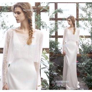 60700baa5cbba ウエディングドレス ボレロ ロングドレス 2点セット 長袖 高品質 エレガント(ウェディングドレス)