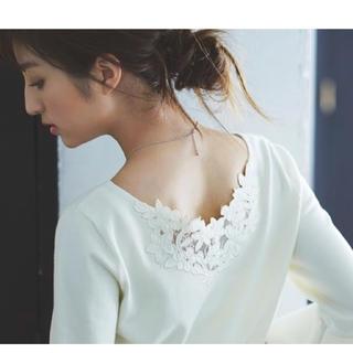 リランドチュール(Rirandture)の新品ネックレス付Back刺繍フレア袖ニット*送料込(ニット/セーター)