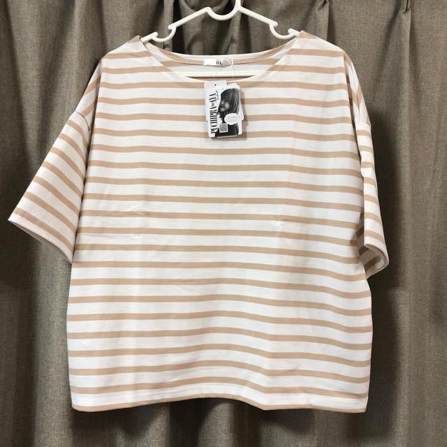 しまむら(シマムラ)のプチプラのあや × しまむら コラボ ページュボーダーゆるT レディースのトップス(Tシャツ(半袖/袖なし))の商品写真