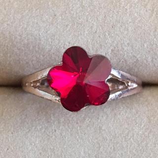 (56)ルビーカラーのお花リング ゴールド  アンティーク(リング(指輪))