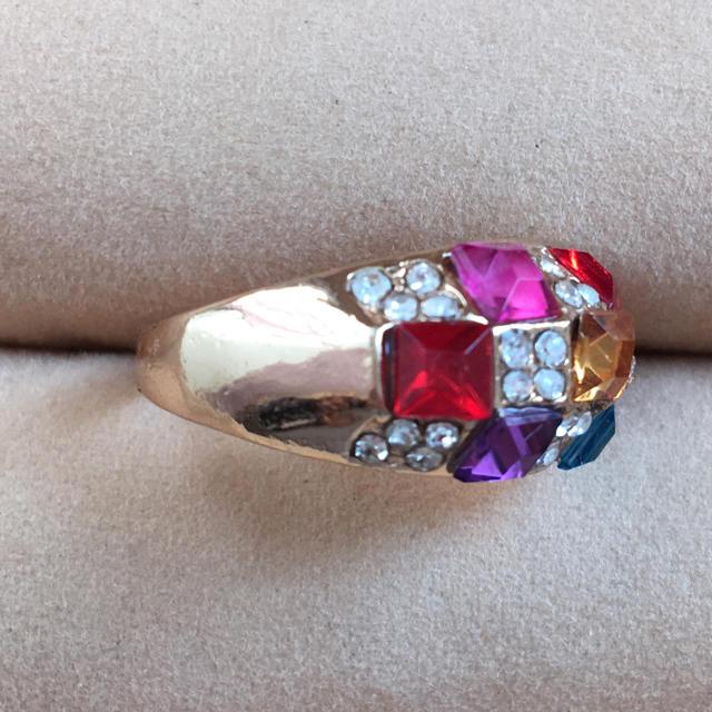 (59)マルチカラーのファッションリング ゴールド   レディースのアクセサリー(リング(指輪))の商品写真