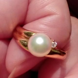 あこや 一粒 ダイヤモンド K18  ゴールドリング(リング(指輪))