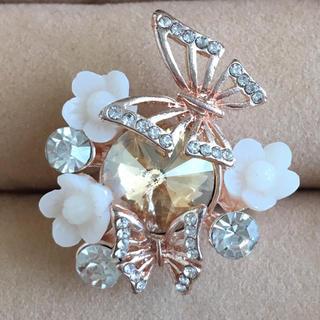 (63)お花と蝶々のイエロービジューリング ピンクゴールド  ヴィンテージ(リング(指輪))