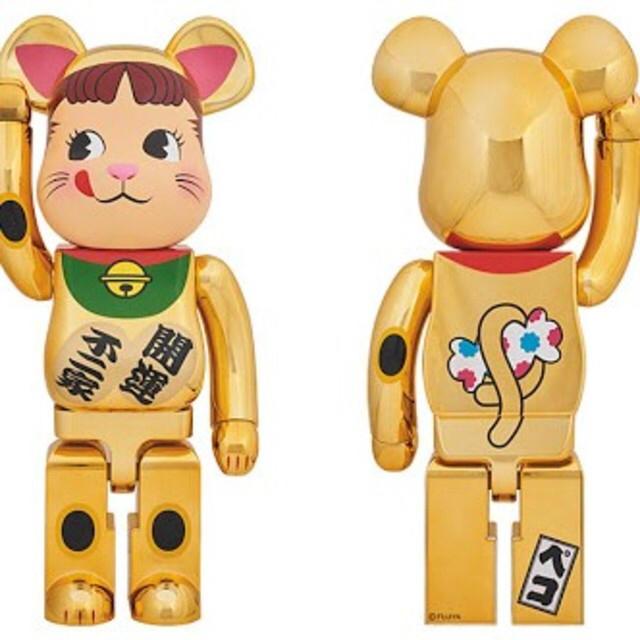 MEDICOM TOY(メディコムトイ)のBE@RBRICK 招き猫 金メッキ ペコちゃん 1000%  エンタメ/ホビーのおもちゃ/ぬいぐるみ(キャラクターグッズ)の商品写真