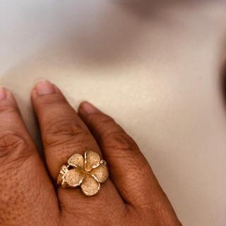 ハワイアンジュエリープルメリアK14リング大きいサイズ(リング(指輪))