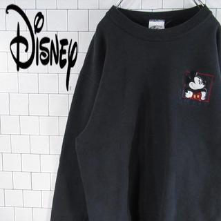 ディズニー(Disney)の【超激レア】ディズニー USA製 黒 ミッキー刺繍 スウェットトレーナー 90s(スウェット)